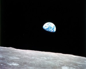 Earth rising over the Moon from Apollo 8.