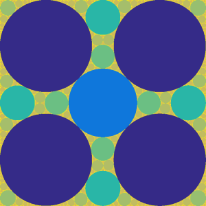 Apollonian packing in square with central circle of radius 1/6.