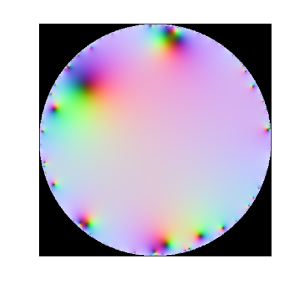 Plot of function with a Gaussian Taylor series. Color corresponds to stereographic mapping of the complex plane to a sphere, with infinity being white and zeros black. The domain of convergence is the unit circle.