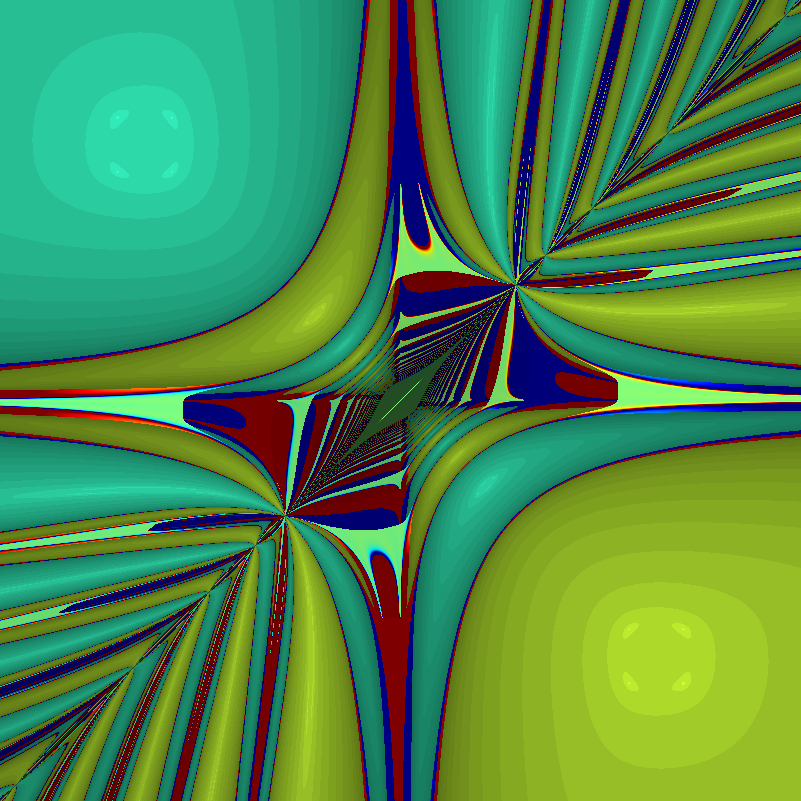 Behavior of Newton's method in 2D for F=[x^3-x-y, y^3-x-y]. Color denotes value of x+y, with darkening for slow convergence.