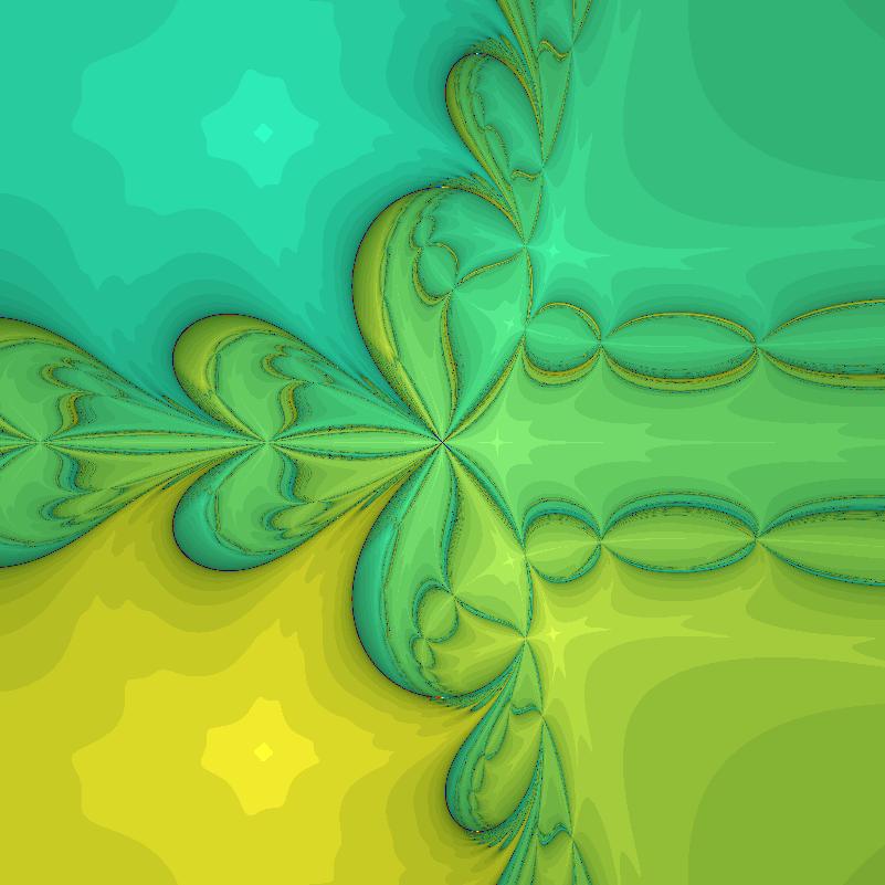 Perturbed z^3-1 Newton iteration, epsilon=4.