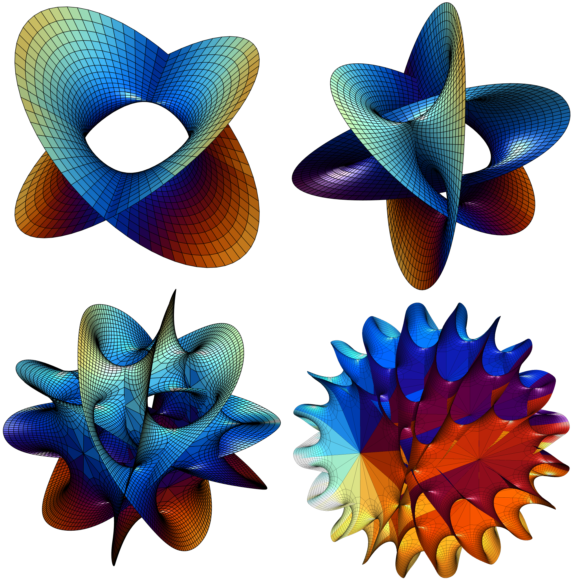 Hanson's Calabi-Yau surface for N=2, N=3, N=5 and N=8.