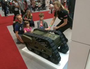 Military robot being shown to families at New Scientist Live 2017.